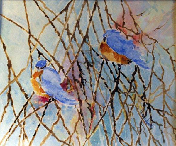 Blue Birds, watercolor