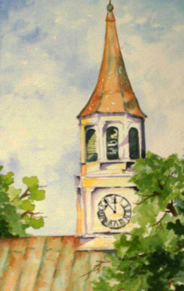 St James Steeple, watercolor