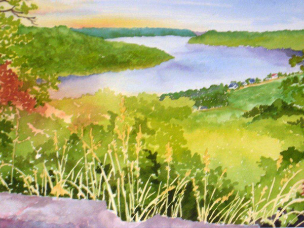 Three Bends Ohio River Hanover IN, watercolor