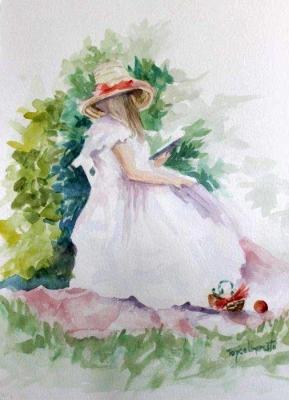 Reading, watercolor