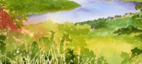 Three Bends Ohio River Hanover IN, watercolor