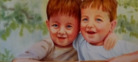 Twins at Three, watercolor